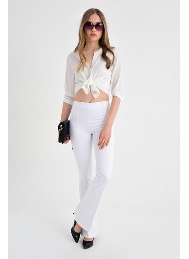 Jument Paradise Ön Arka Dikişli İspanyol Paça Tayt Pantolon Beyaz